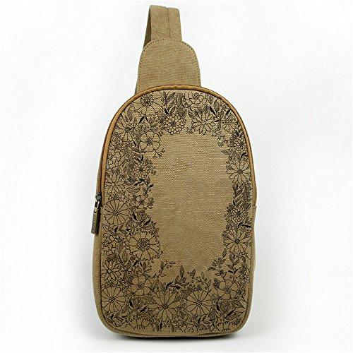 Zaino multiuso Crossbody borsa a tracolla stile vintage etnico petto Pack borsa arrampicata bag marrone Flowers Flowers