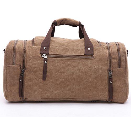BAOSHA HB-21 Unisex Canvas Sporttasche Reisetasche Großräumige Handtasche Schultertasch Handgepäck Weekender Tasche Vintage Segeltuch Sporttasche für Reise (Grau) Kaffee