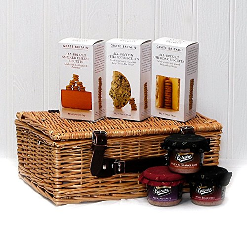 Crackers and P�t� Food Hamper Presented in a Wicker Gift Basket - Gift Ideas for Christmas presents, Birthday, Wedding, Anniversary and Corporate