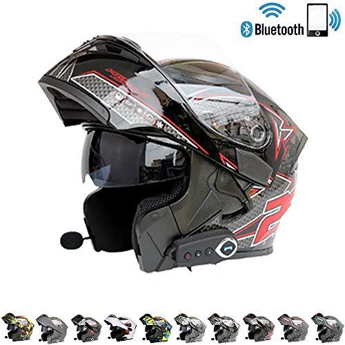C-TK Bluetooth integrierter modularer Motorradhelm ECE22.05 Zertifiziert DOT-Sicherheitsstandard-Full-Face Gesamt-Motorradhelm,3,M(57~58) cm