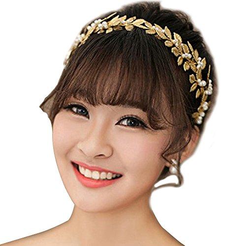 CLOCOLOR Hojas tocados de Cristales Perlas de la mujer de novia de la boda joyería nupcial de pelo diadema de oro