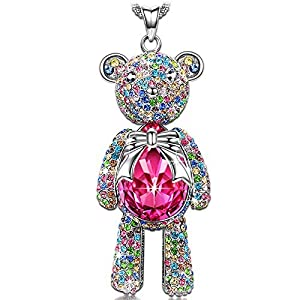"J.NINA ""Bear Princess"" Made with Pink Swarovski Crystals Cute Bear Design Women Jewelry Necklace, Ideal Gift on Birthday from Jnina Jewelry"