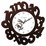 Random Eco Numbers Wooden Wall Clock (Br...