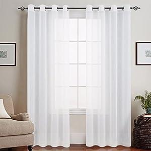 TOPICK Weiß Lange Gardinen Vorhang für Wohnzimmer transparent mit Ösen Ösenschal dekoschal Voile 225 x 140 cm (H x B) 2er Set