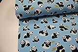 Stoff / 100cmx140cm / Kinder / beste Sweat-Qualität / Winter-Sweat Panda, Blätter auf hellblau