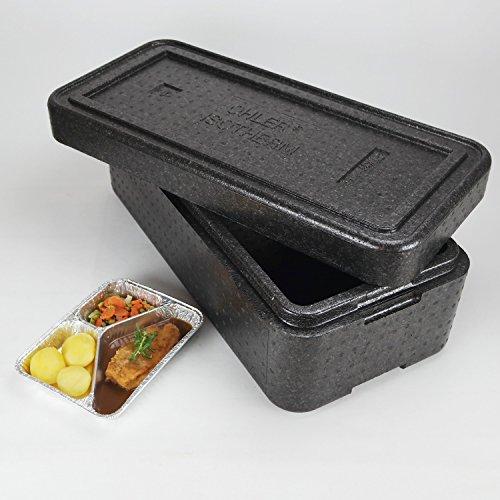 PIT12 Thermobox ✔ Styropor anthrazit ✔ Transportbehälter ✔ MENÜBOX für 12 Menü * Catering