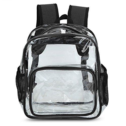 Zicac Grande borsa zaino da spiaggia a spalla, in PVC trasparente, color giallo e nero Nero