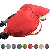 BambiniWelt, Manicotto/scaldamani universale per carrozzine, passeggini, per jogging, con imbottitura in lana, tessuto screziato (rosso)