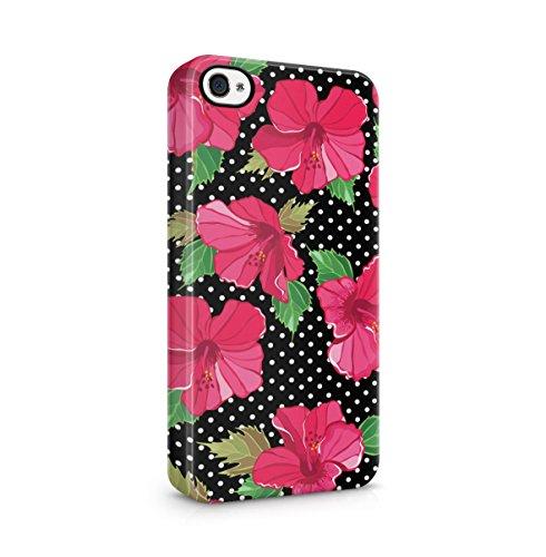 Vintage Blumen Tropisch Rosa Flowers Polka Dots Pattern Dünne Handy Schutzhülle Hardcase Aus Hartplastik Hülle für iPhone 4 / iPhone 4S Handyhülle Case Cover (Lotus-blume Iphone 4 Case)