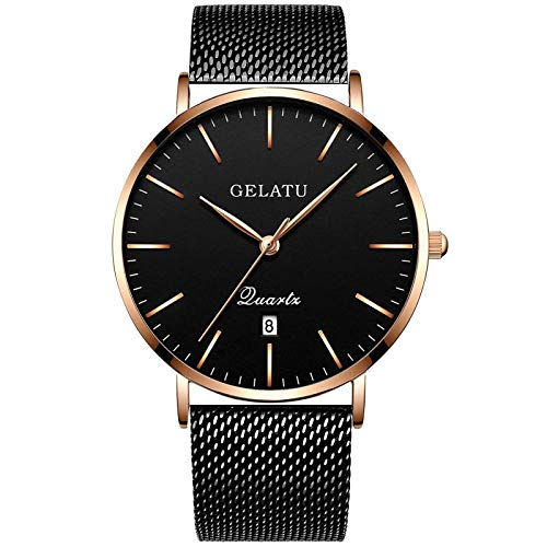 RTVDA 2017 Watch Man Steel Belt Student Watch Fashion Trend Fashion Quartz Watch Waterproof Men'S Watch Wrist Watch,Rose Gold Black Faced Steel Strip