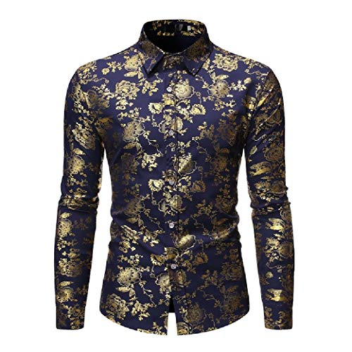 Blue Chambray Work Shirt (CuteRose Mens Hot Stamping Casual Long-Sleeve Printing Pattern T-Shirt AS1 S)