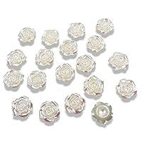 Syntego 50pcs Round Ivory 12mm Flat Back Rose Flower Resin Pearls Craft Gems Cabochon