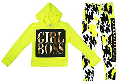 Minx Girls Girl Boss Neon Hoody Top & Camo Leggings Tracksuit Set Sizes from 7 to 13 Years : everything five pounds (or less!)