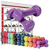POWRX Vinyl Hanteln inkl. Workout Gymnastikhanteln Ideal für Aerobic Pilates 0,5 kg – 10 kg | Kurzhantel Set in Versch. Farben (Set komplett (0,5-10 kg))