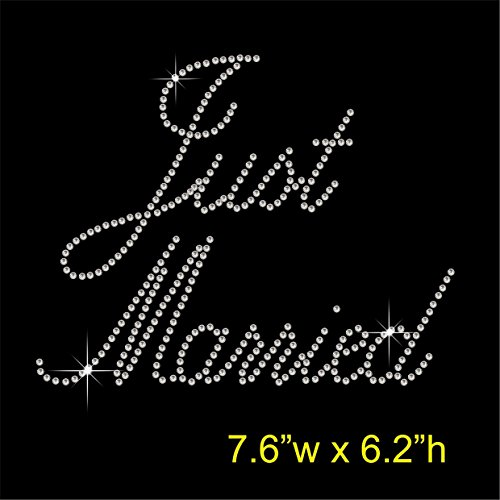 Just Married – Henne Hirsch Party Hotfix Strass mit Eisen auf übertragen Motiv Aufnäher (In Strass Married Just)