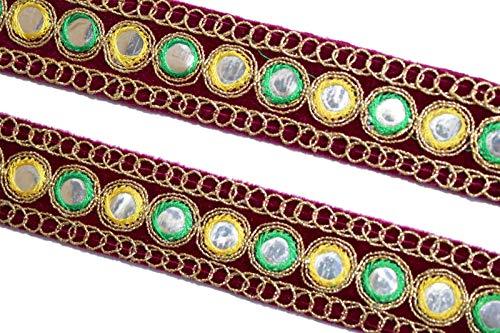 Indische Spiegelblende, Stoffbesatz, Brautkleid-Verzierung, Indianer-Band, Blende mit Spiegeln-Breite 03 cm-Preis für 1 Yard-IDL441