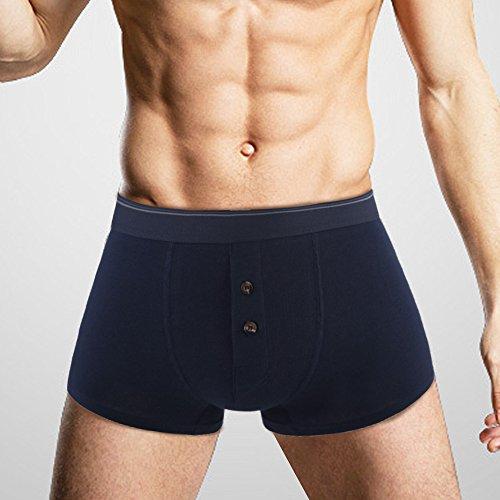 Herren Boxer Shorts Trunk Pant Boxershorts 4er Pack Unterhose mit Knopfleiste Blau