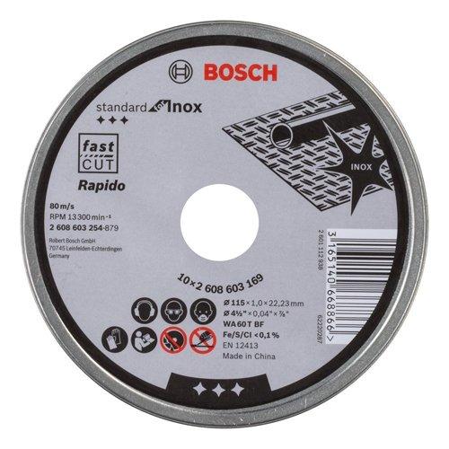 BOSCH Trennscheibe gerade Standard für Inox - Rapido WA 60 T BF, 115 mm, 10-er Pack, 2608603254