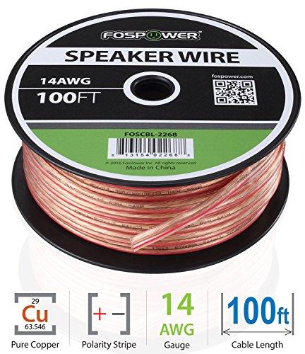 FosPower Cable de Altavoz (30m) 14AWG Prima Oxígeno Gratis Desnudo Cobre Speaker Wire con Claro Chaqueta y Rojo Polarity Mark (100ft)