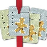 8 Weihnachts Geschenkanhänger farbig, Papieranhänger für Weihnachten mit niedlichem Lebkuchen Mann: Zum Fest | Für Dich • kleine Geschenk Grusskarten zum verschenken