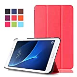 Samsung Galaxy Tab A 2016 case leder hülle ,PU Leder Schutzhülle Tasche für Samsung Galaxy Tab A (2016) 17,8 cm (7 Zoll) SM-T280 Hülle Skin Schale Lederhülle Flip Case Cover (Rot)