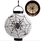 MAXGOODS LED Papier Halloween Hängende Laterne Fledermaus Spinne Kürbis Licht Party Dekor Lampe - Weiß - Batterien nicht enthalten