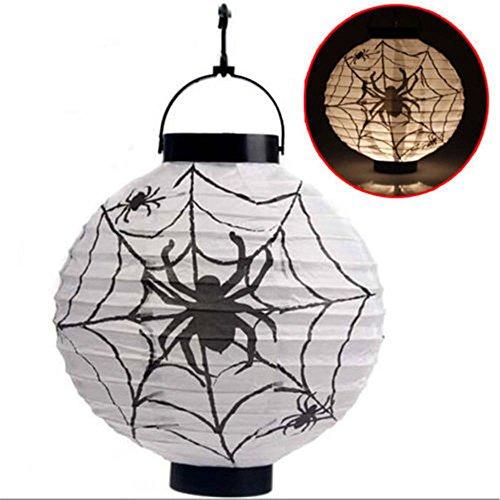 (MAXGOODS LED Papier Halloween Hängende Laterne Fledermaus Spinne Kürbis Licht Party Dekor Lampe - Weiß - Batterien nicht enthalten)