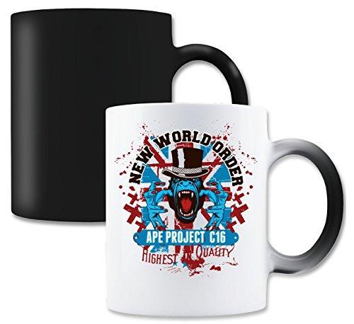 LukeTee New Word Order Ape Project Magische Tee-Kaffeetasse