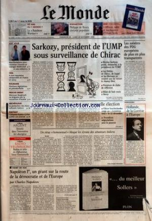 MONDE (LE) [No 18613] du 28/11/2004 - 60 ANS DU MONDE - LE RAINBOW-WARRIOR - DISPARITION - PHILIPPE DE BROCA, CINEASTE POPULAIRE - DVD - AFFREUX, SALES ET MACHANTS D'ETTORE SCOLA - 100E JOUR - MANIFESTATIONS POUR CHRISTIAN CHESNOT ET GEORGES MALBRUNOT - SIDA - 6 000 NOUVEAUX SEROPOSITIFS EN FRANCE EN 2003 - ROUMANIE - ELECTIONS LEGISLATIVES ET PRESIDENTIELLE - PROCHE-ORIENT - MAROUAN BARGHOUTI NE BRIGUERA PAS LA SUCCESSION D'ARAFAT - ARCHEOLOGIE - LA PROTECTION DES BIENS CULTURE