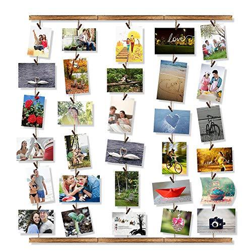 VEESUN Bilderrahmen Collagen Fotos Holz, Fotorahmen Bilderwand zum Aufhängen Fotowand Fotovorhang Hängend für Wohnzimmer, Fotocollage mit 30 Clips 5 Seilen, Weihnachten Geschenk für Freundin, MEHRWEG