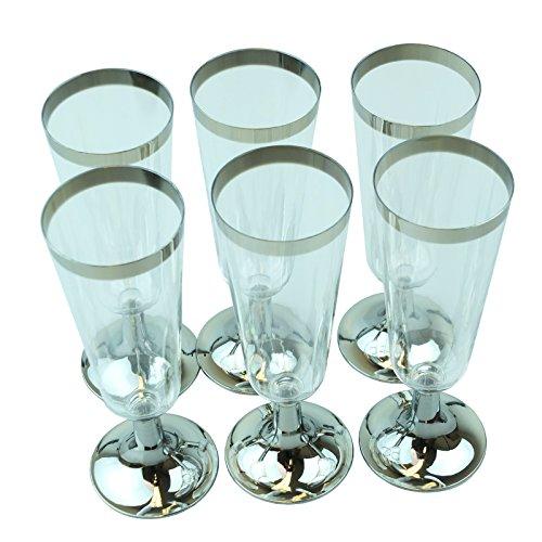 Bid Buy Direct® Lot de 6 réutilisable Premium Plastique flûtes à champagne/verres – 148 ml   Parfait pour toutes les fêtes – Certifié CE
