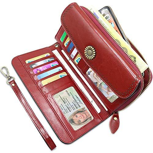 Geldbörse Damen Leder Gross, Geldbeutel Frauen Groß Viele Fächer mit 12 Kartenfächer, Damen Portemonnaie Großes RFID Schutz Geldbörsen Große mit Handyfach und Reißverschluss (Rot) - Schicke Geldbörse