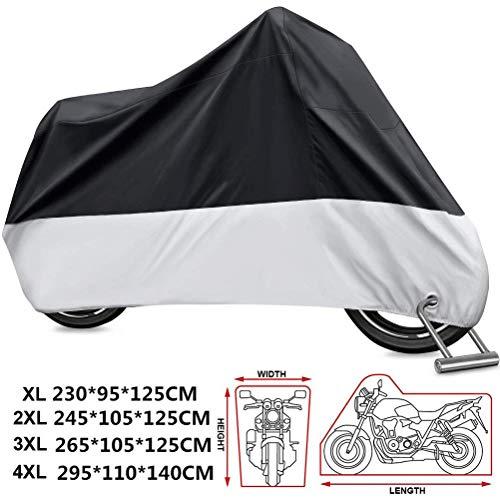 Kokomall telo coprimoto impermeabile 210d copri moto copertura per scooter teli motocicletta universale anti-uv antipolveri per interno esterni 295 x 110 x 140 cm