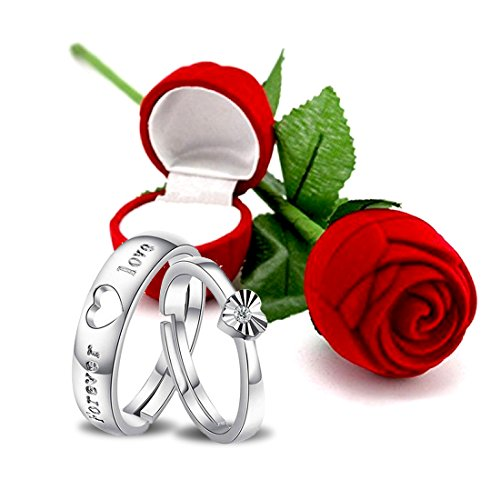 Peora Hamper of Couple Ring with Red Rose Gift Box for Boyfriend/Girlfriend/Gift for Valentine/Gift for Him/Gift for Her