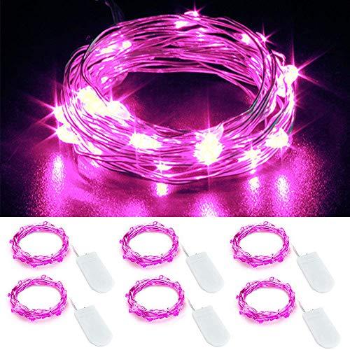 ENUOLI 6 Satz-Rosa-Lichterketten Batteriebetriebene Schnur-Lichter Firefly Lichter