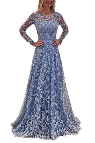 Size Plus Formale Kleider Blau (Frauen Plus Size Elegante Lange Ärmel Rückenfrei Spitzen Fit Und Fackel Skater Hochzeitsfeier Maxi - Kleid Blue 3XL)
