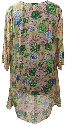 SUNROSE offene Rose Strandkleid Kimono Mantel Boho Top Mehrfarbig - Grün