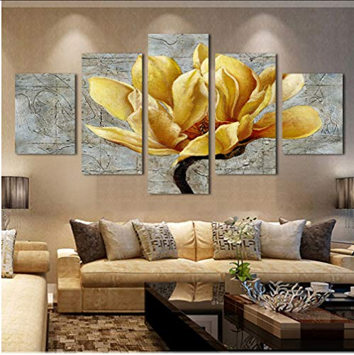 syssyj Pas De Cadre Maison Mur Art Modulaire Grand S Peinture pour Chambre Salon Déco Cadre 5 Panneau Fleur Jaune Paysage Image