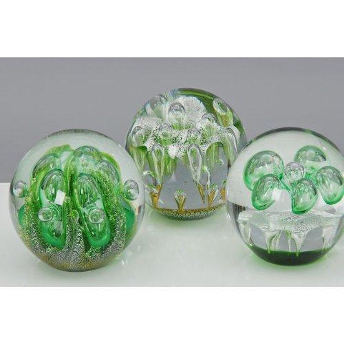 Briefbeschwerer / Glaskugel grün 9cm Mod. C
