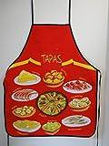Lote de 2-Delantal de cocina, diseño de la bandera de España Plato de Paella Gambas calamar-Molde de repostería, diseño de pulpo