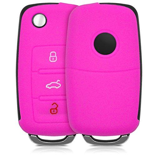 Hülle für VW Skoda Seat 3-Tasten Autoschlüssel - kwmobile Silikon Schlüssel Schutzhülle in Pink - Etui Schlüsselhülle Cover Auto Zündschlüssel