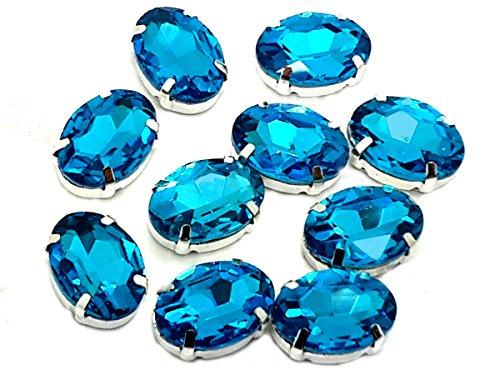 Eimass exquisite Glas-Kristalle zum Aufkleben oder Aufbügeln, Swarovski-Alternative, mit Glas-Rückseite, in silberner Einfassung, Aquamarine Oval, 18 x ()