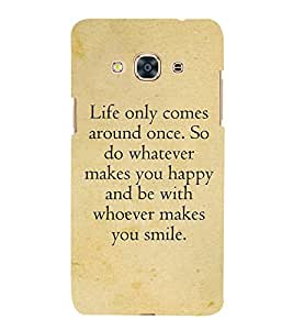 Life Quote 3D Hard Polycarbonate Designer Back Case Cover for Samsung Galaxy J3 Pro