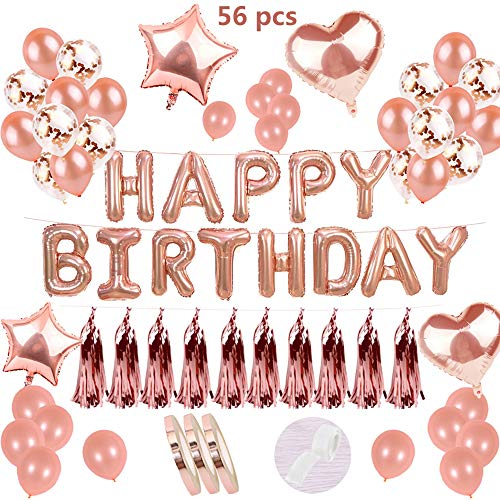 Geburtstagsdeko Rose Gold:Helium Buchstaben Folienballons Banner&10Folierte Tassel Garland Luftschlangen&15Latex Ballons &10Konfetti Luftballon &4Stern Herz Ballon für Mädchen 1 Jahr Geburtstag Party