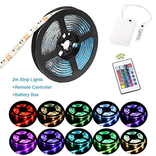 Luces de tira LED RGB de 2 m Luces de tira a batería a prueba de agua Luces de cuerda flexible, Luces de tira de cambio de color con caja de suministro de energía de batería y 24 teclas Control remoto