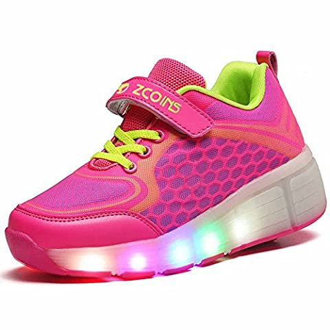 Zcoins Girls Roller Skate Pink Trainers with Lights Wheels Shoes kids size 12 Child