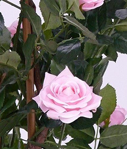 artplants Set 2 x Künstlicher Rosenbaum Juliana, 15 Blüten, rosa, 100 cm – Kunstblumen Baum/Kunstrosen Baum