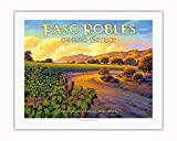 Pacifica Island Art-Paso Robles-Geneseo District-Central Coast AVA vigneti-California Wine Country Art by Kerne Erickson-Stampa Artistica 20 x 26 in Rolled Canvas