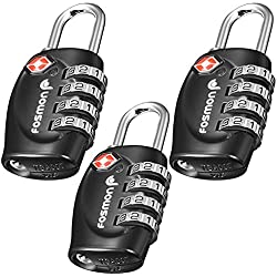 TSA aprobado candados para el equipaje, Fosmon (3 paquete) Códigos de candado de combinación de 4 dígitos para el bolso del recorrido, el caso del juego, los armarios, el Gym, las cerraduras de la bici o el otro