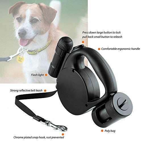 Dog-Leash-Retractable-Dog-Cat-lead16ft-One-Button-Break-LockWith-a-LED-Flashlight-Garbage-BagsBlack-DAGO-Mart-Quality-Guarantee